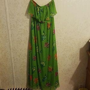 Green floral maxi